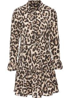 Платье с леопардовым принтом (бежевый с узором) Bonprix