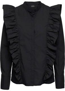 Блузка с воланами (черный) Bonprix