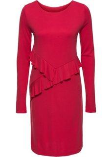 Трикотажное платье с воланами (красный) Bonprix