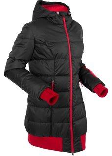 Удлиненная стеганая куртка (черный) Bonprix