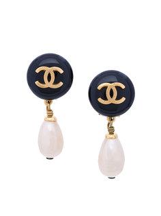 Round CC Drop Pearl Swing Earrings Chanel Vintage