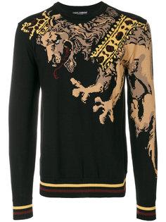 свитер с вышитым львом Dolce & Gabbana