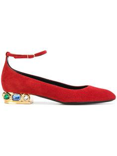балетки на декорированных каблуках Casadei