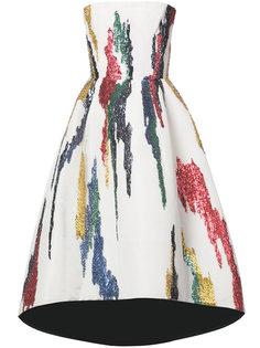 платье с пайетками без бретелек Oscar de la Renta