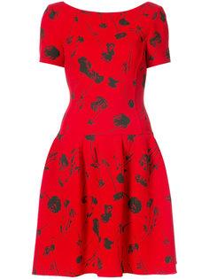 платье с принтом и приспущенной талией Oscar de la Renta