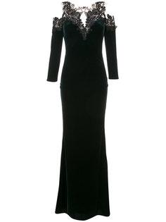 бархатное гипюровое вечернее платье Marchesa Notte
