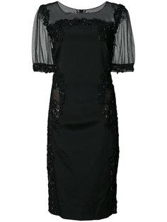 платье с рукавами из тюля Marchesa Notte