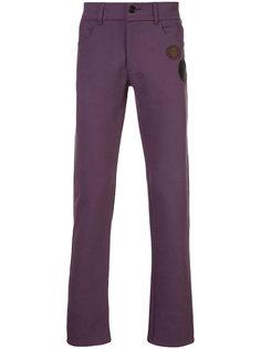 straight leg patch embellished trousers Yang Li
