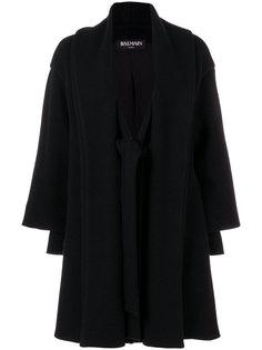 свободное пальто с поясом  Balmain