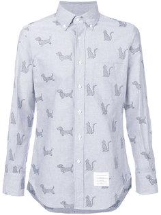 рубашка с вышивкой котов и собак Thom Browne