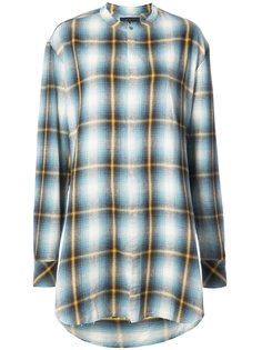 plaid collarless shirt Baja East