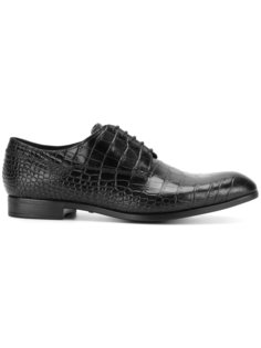 туфли Дерби с эффектом крокодиловой кожи Emporio Armani