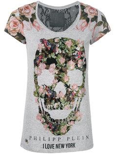 футболка с цветочным принтом и черепом  Philipp Plein