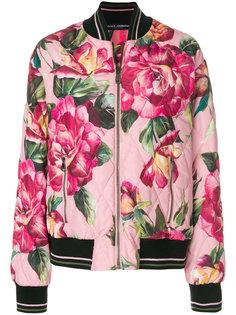 куртка-бомбер с принтом роз  Dolce & Gabbana