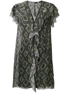 платье с оборкой и змеиным принтом  Karl Lagerfeld