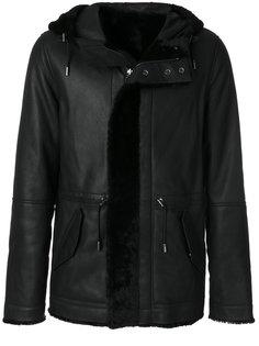кожаное пальто с капюшоном Yves Salomon