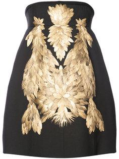 gold-tone appliqué structured dress Vera Wang