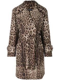 леопардовое пальто с поясом Dolce & Gabbana