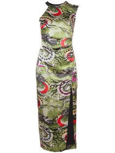 one shoulder print dress Nicole Miller