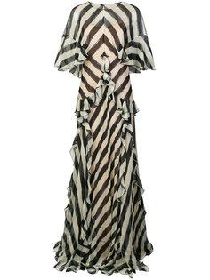 платье с принтом и оборкой  Alberta Ferretti