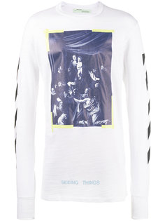 футболка с длинными рукавами с диагональными полосками Caravaggio Off-White
