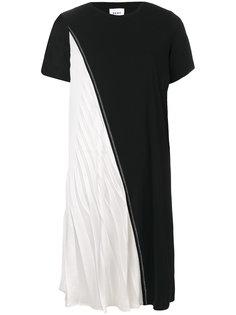 двухцветное асимметричное платье  DKNY