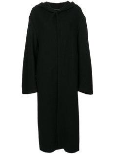длинное пальто с капюшоном  Yohji Yamamoto