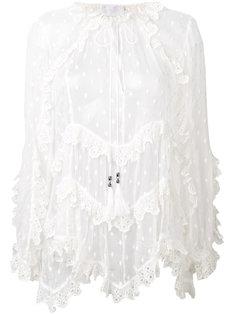 полупрозрачная блузка с оборкой  Zimmermann