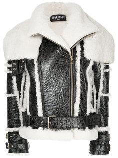 байкерская куртка с поясом  Balmain
