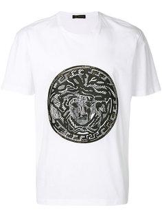 футболка с кожаным логотипом с головой Медузы Versus
