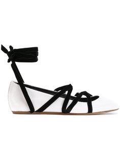 балетки на шнуровке Lanvin