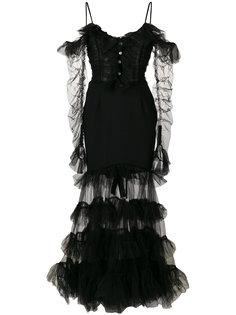 расклешенное сетчатое платье с оборками  Alessandra Rich