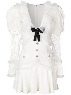 платье с бантом и объемными рукавами  Alessandra Rich