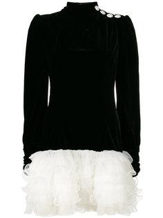 платье с длинными рукавами и оборками  Alessandra Rich