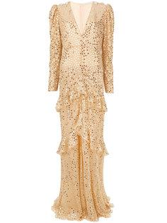 платье с длинными рукавами и отделкой пайетками  Alessandra Rich