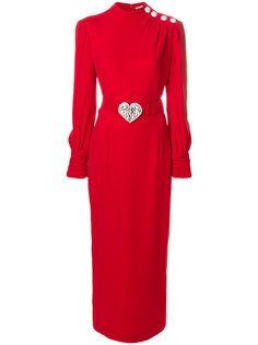 платье с длинными рукавами и поясом  Alessandra Rich