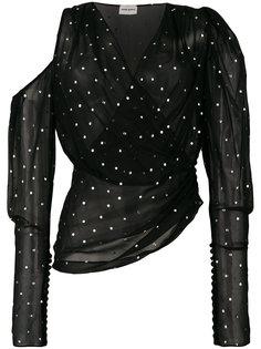 блузка в горошек с открытым плечом  Magda Butrym