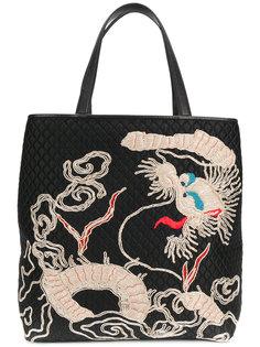 стеганая сумка-тоут с вышивкой Ermanno Scervino
