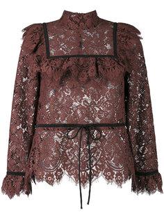 кружевная блузка с оборками  Ganni