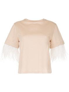футболка с отделкой перьями  Le Ciel Bleu