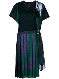 платье-футболка с плиссированной юбкой  Sacai