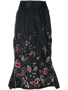 юбка со шнурком и цветочной вышивкой  Sacai