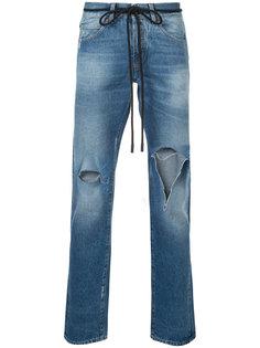джинсы кроя слим с рваными деталями Off-White