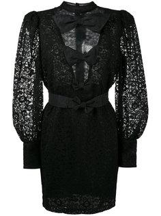 полупрозрачное кружевное платье мини с бантом  Alessandra Rich