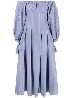 платье с открытыми плечами в полоску  Rejina Pyo