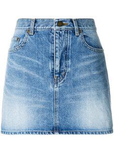 джинсовая юбка с карманами  Saint Laurent