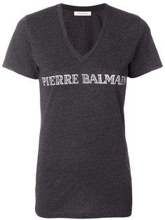 футболка с V-образной горловиной с логотипом Pierre Balmain