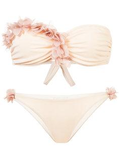 floral embellished strapless bikini La Reveche