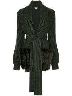 куртка с искусственным мехом и поясом  Fendi