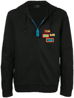 badge patch zip hoodie Fendi
